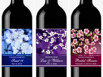 Cherry Blossom Wedding Bridal Wine Bottle Labels Stickers