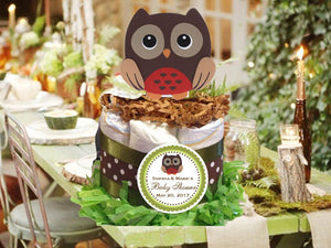 Woodland Creatures Forest Chubby Owl Diaper Cake Centerpiece
