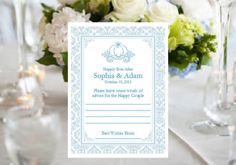 Cinderella Wedding Royal Ball Party Advice or Wish Cards Notes
