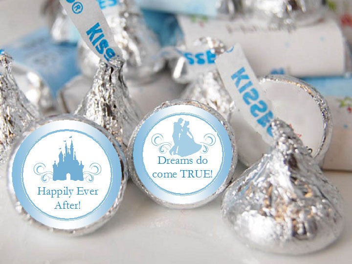 Cinderella Party Wedding Kisses Labels Stickers
