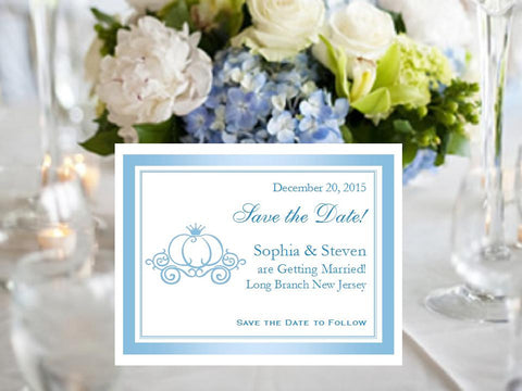 Cinderella Wedding Royal Ball Save the Date Cards Notes