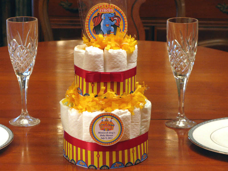 VINTAGE CIRCUS 2 Tiered diaper cake centerpiece - baby shower favors