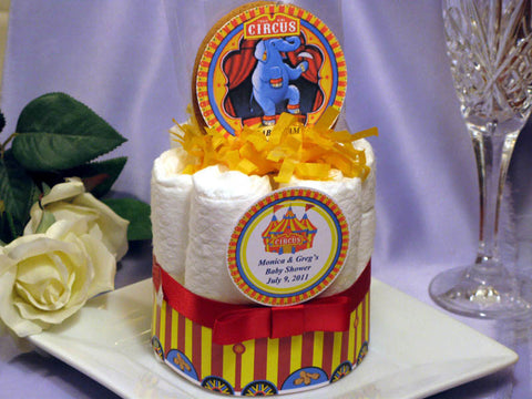 Vintage Big Top Circus Baby Shower Mini Diaper Cakes