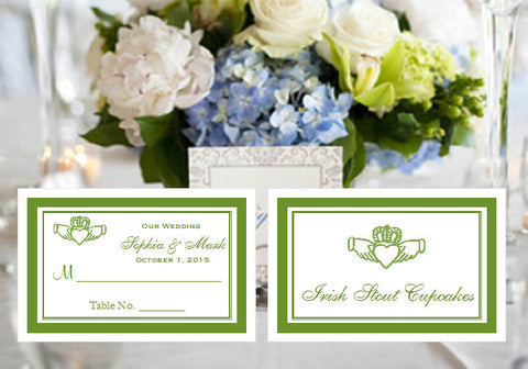 Claddagh Irish Wedding Buffet Escort Place Cards