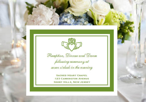 Claddagh Irish Wedding Reception Card Notes