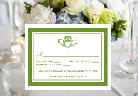 Claddagh Irish Wedding Response Card Notes