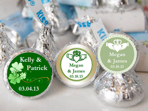 Claddagh Irish Wedding Hershey's Chocolate Candy Kisses Labels Stickers