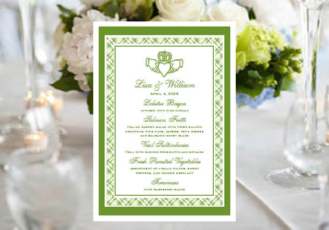 Claddagh Irish Wedding Bridal Baby Shower Menu Cards