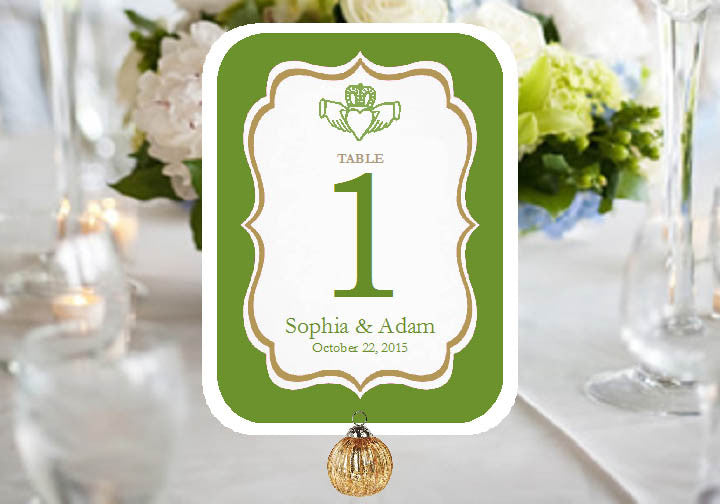 Claddagh Irish Wedding Baby Bridal Shower Table Number Cards