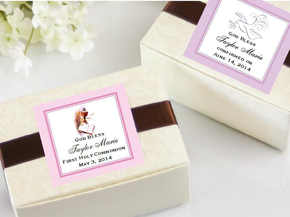 Communion Confirmation Red Dove Square Favors Tags Set Of 10