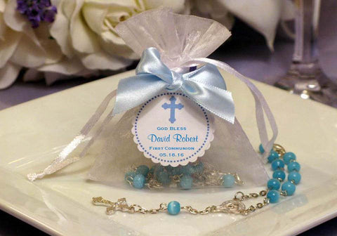 Communion Confirmation Mini Rosary in Organza Bag Favors
