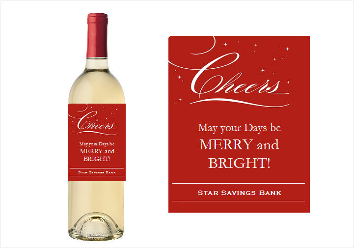 Corporate Holiday Christmas Party Wine Bottle Labels Stickers