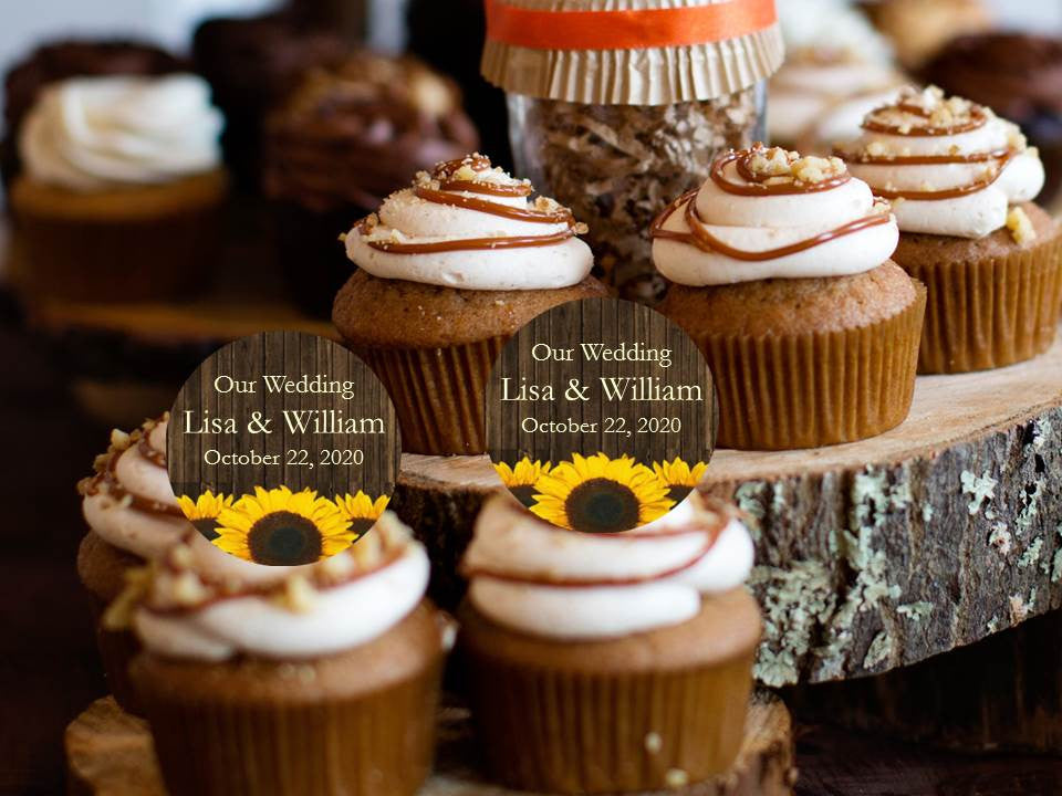 Country Fall Rustic Wedding Cupcake Toppers Decorations