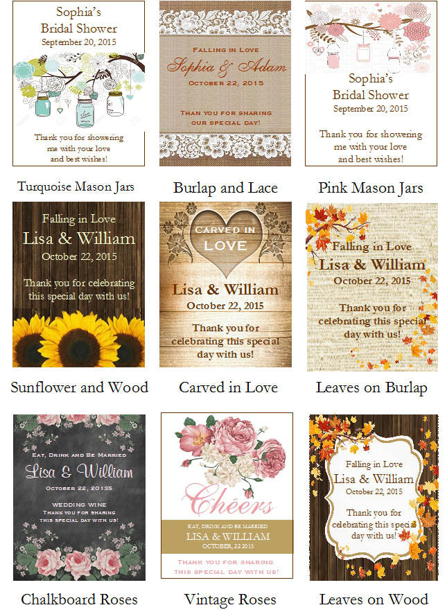 Country Fall Rustic Wedding Autumn Wine Bottle Labels Stickers ...