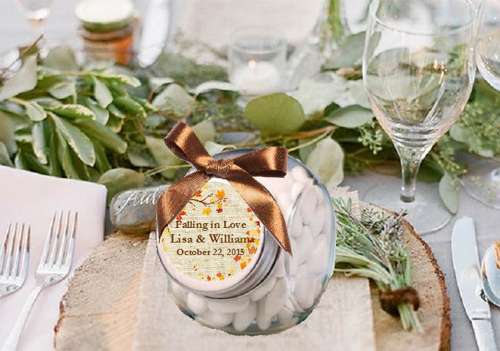 Country Fall Rustic Wedding Mini Glass Jar Favors – Pavia Party Favors