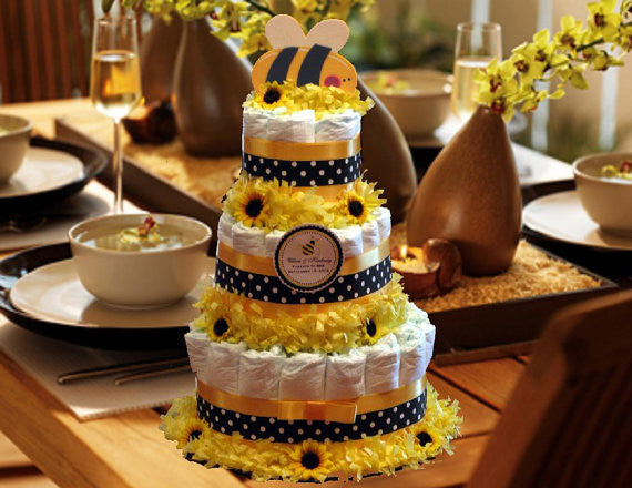 Baby Shower Cute as Can Bee Diaper Cake Centerpiece 3 Tiers