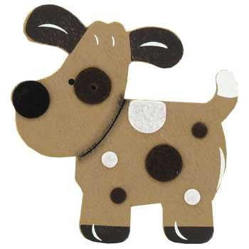 Brown Puppy Spotted Dog Painted Wood Diaper Cake Topper