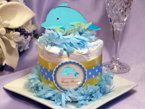 Under the Sea Dolphin Baby Shower Diaper Cake Centerpieces