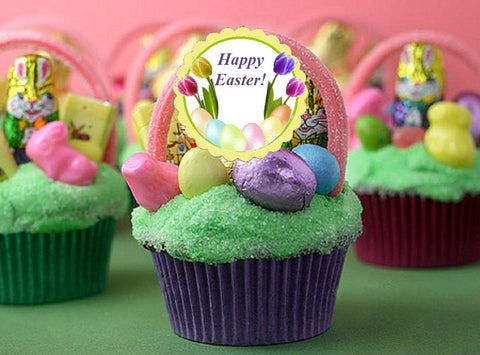 Easter Egg Bunny Basket Cupcake Toppers Decorations