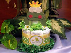 Friendly Green Froggy Tales Prince Frog Diaper Cake Centerpiece