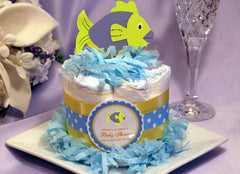 UNDER THE SEA OCEAN Purple Green Fish Painted Wood Diaper Cake Topper