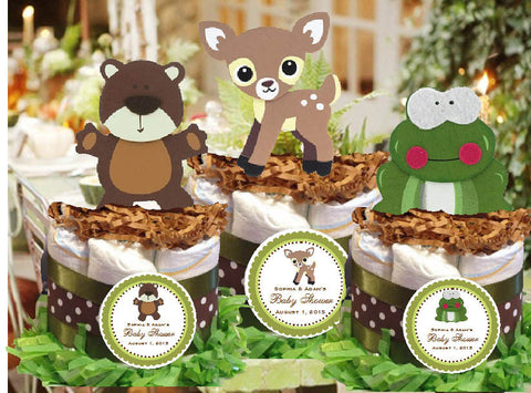 Forest Animals Woodland Friends Diaper Cake Centerpiece