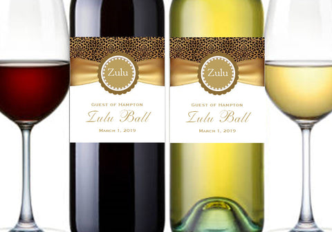 Zulu Ball Gold Party Wine Bottle Labels Stickers