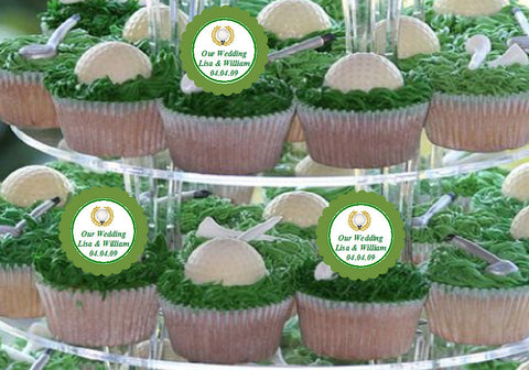 Golf Sports Wedding Party Cupcake Toppers Decorations