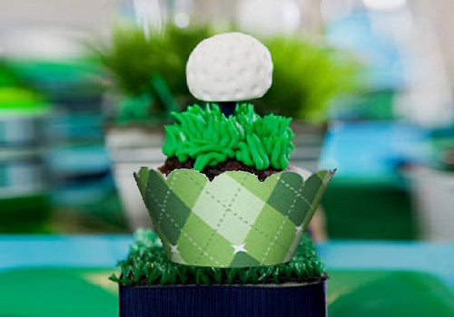 Golf Sports Wedding Party Argyle Cupcake Wrappers