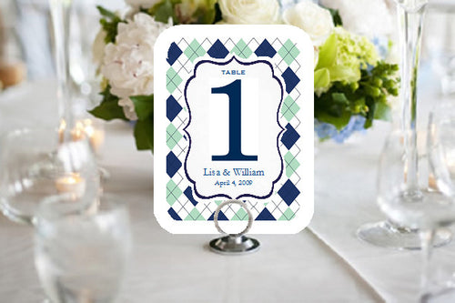 Golf Sports Wedding Party Full Border Table Numbers Cards