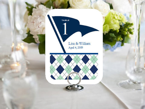 Golf Sports Wedding Party Half Border Table Numbers Cards