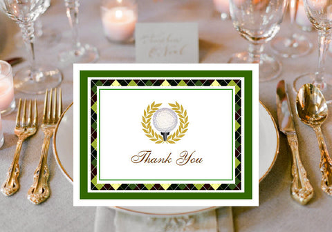Golf Sports Wedding Party Thank You Cards Notes