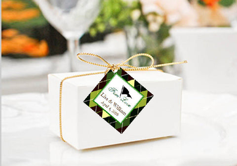 Golf Wedding Party Square Gift Favor Tags