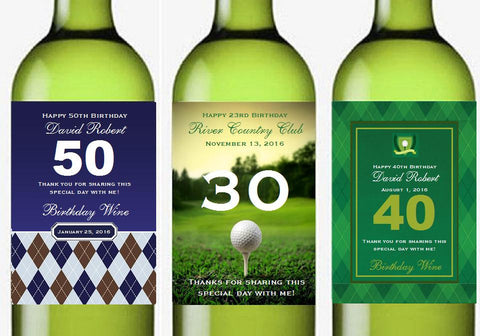 Golf Wedding Party Birthday Large Wine Labels Stickers