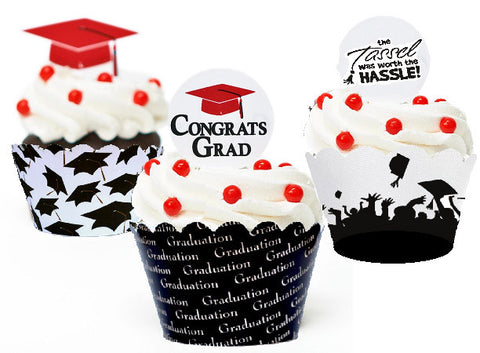 Graduation Hat Silhouette Party Cupcake Wrappers Decorations