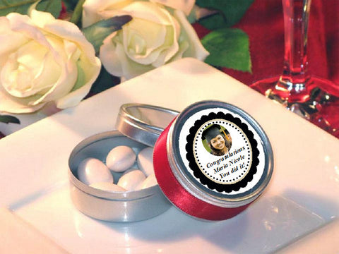 Graduation Party Round Candy Metal Favor Tins Favors