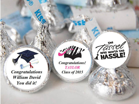 Graduation Party Hershey Kisses Candy Labels Stickers