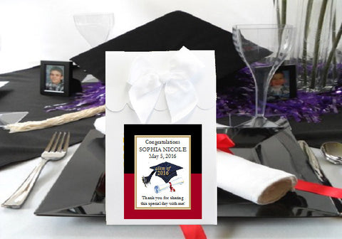 Graduation Party White Candy Shoppe Favor Boxes Bags