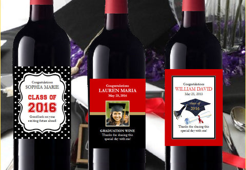 Graduation Party LARGE Wine Bottle Labels Stickers Favors