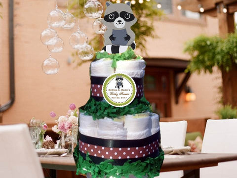 Raccoon Forest Animals Woodland Baby Shower Two Tiered Diaper Cake Centerpieces