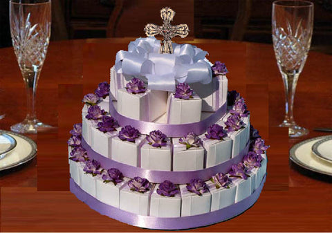 Communion Confirmation Lavender Rosary Embossed 42 Rosary Favor Cake Centerpiece