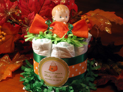 Baby Shower Lil Little Pumpkin Diaper Cake Centerpiece