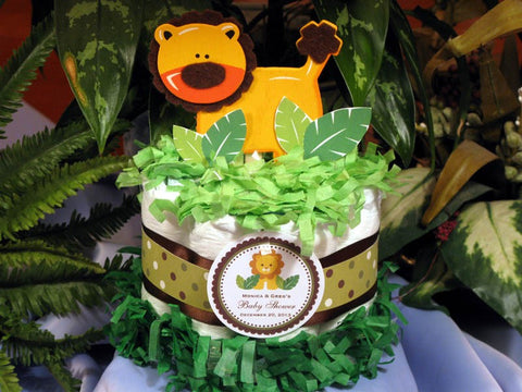 Baby Shower Lion Jungle Safari Diaper Cake Centerpiece