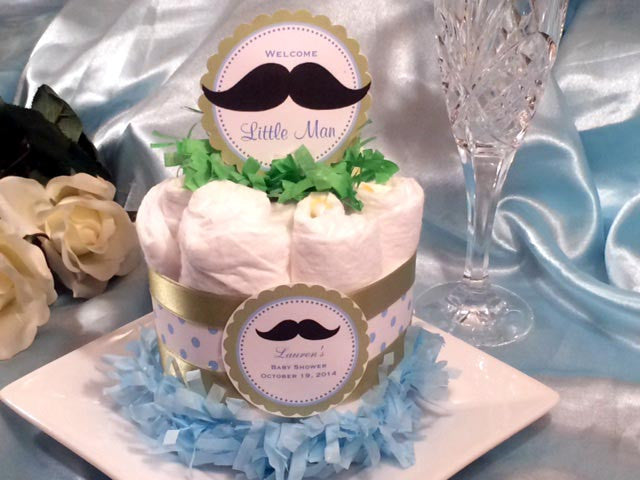 Baby Shower Little Man Mustache Moustache Diaper Cake Centerpiece