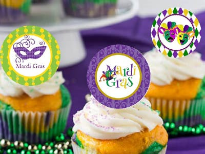 Mardi Gras Party Cupcake Toppers Decorations