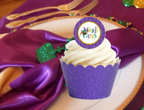 Mardi Gras Party Reusable Glitter Cupcake Wrappers