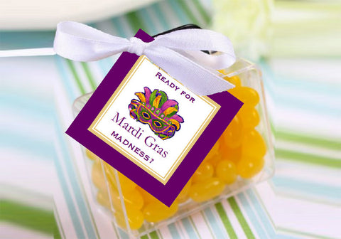 Mardi Gras Party Square Favor Gift Tags
