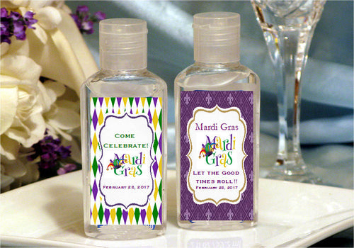 Mardi Gras Party Hand Sanitizers Favors