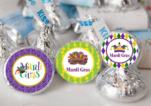 Mardi Gras Party Hersheys Kisses Labels Stickers
