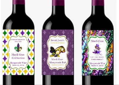 Mardi Gras Party Wine Bottle Labels Stickers